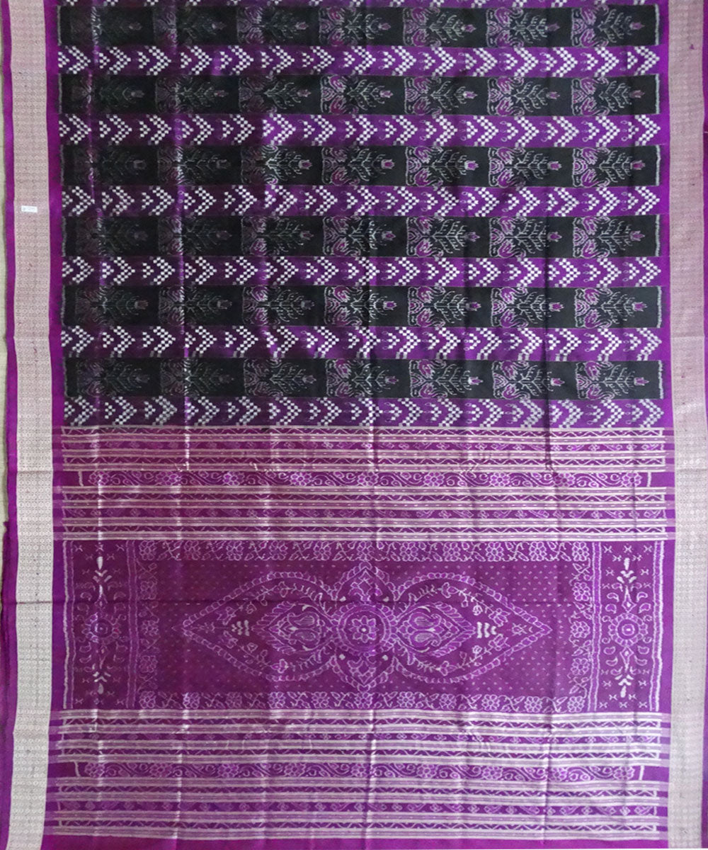 Black & Blue-Violet ikat silk saree