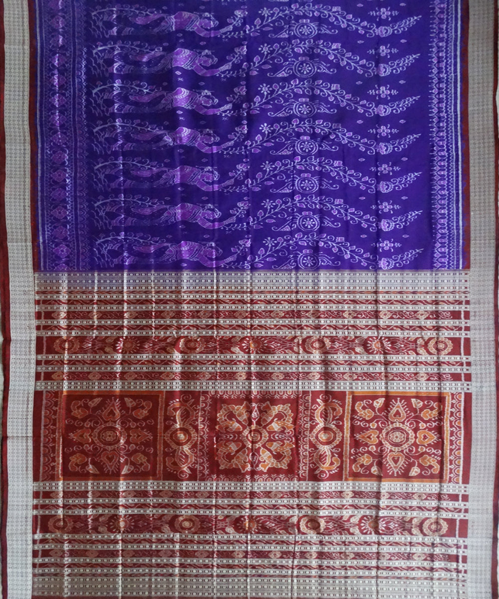 Blue-Violet ikat silk saree
