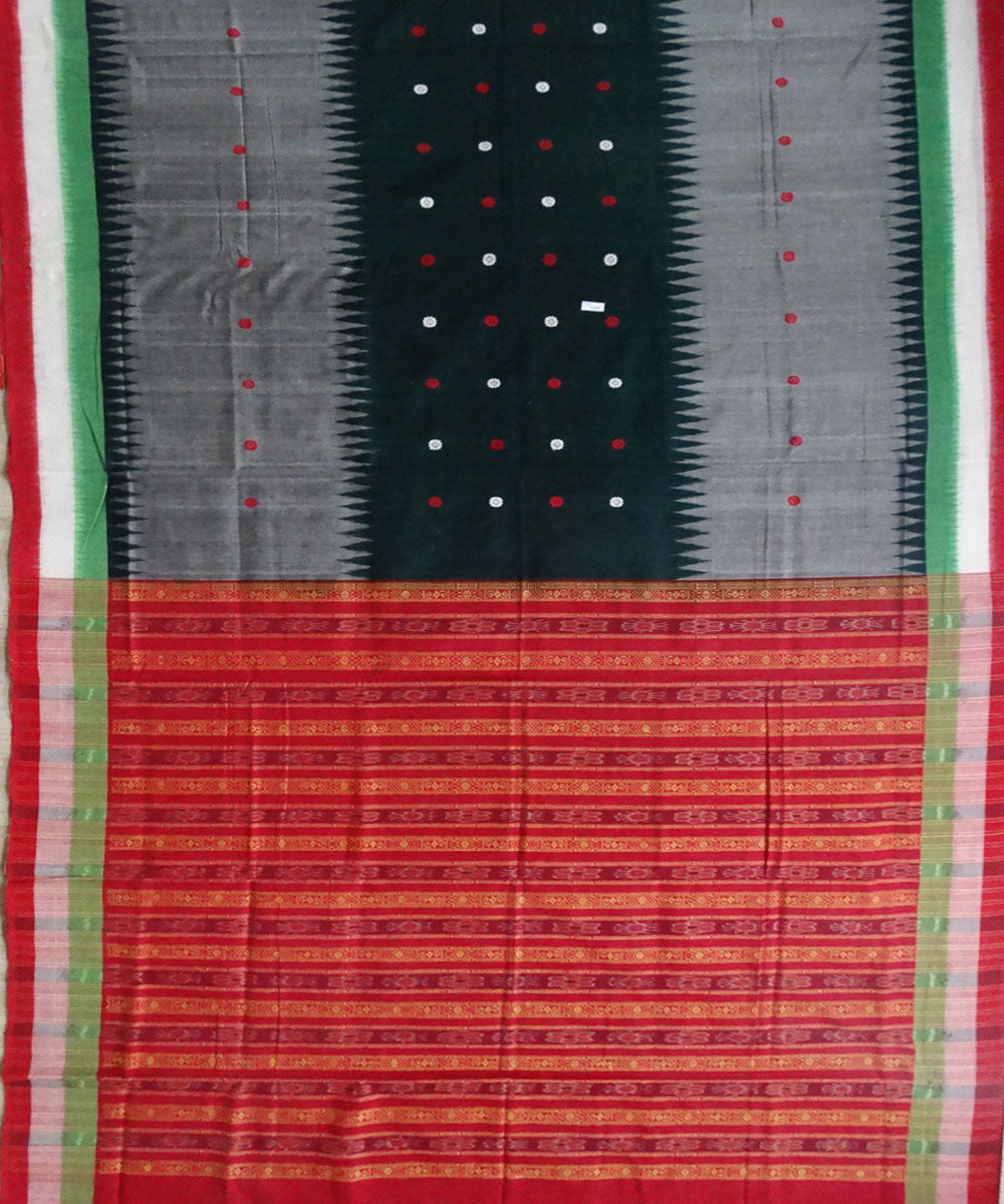 Black & gray bomkai cotton saree