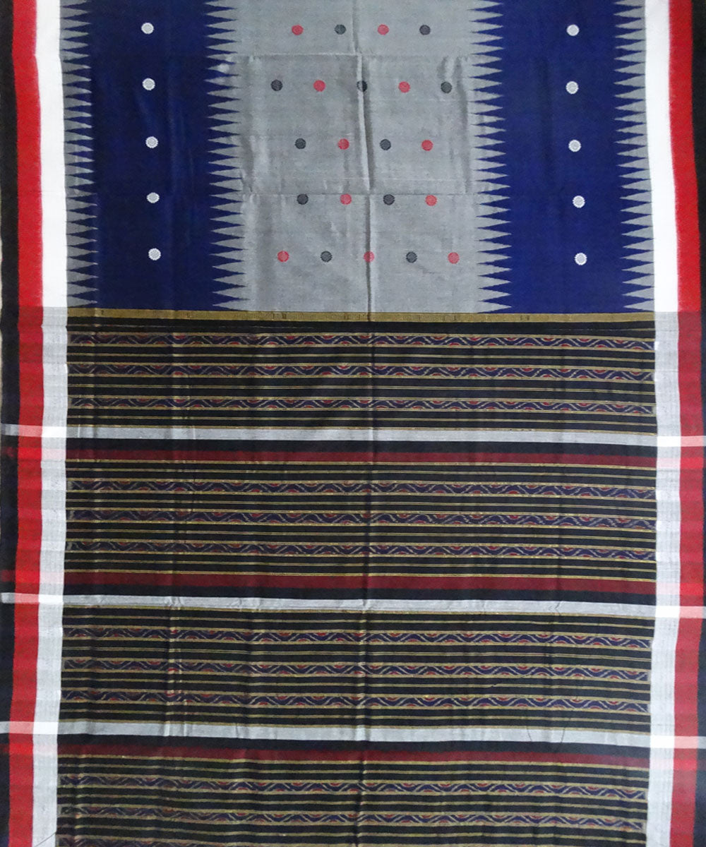 Ink blue & gray bomkai cotton saree