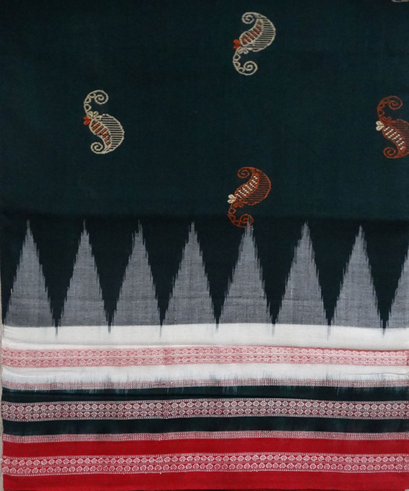 Bottle green bomkai cotton saree