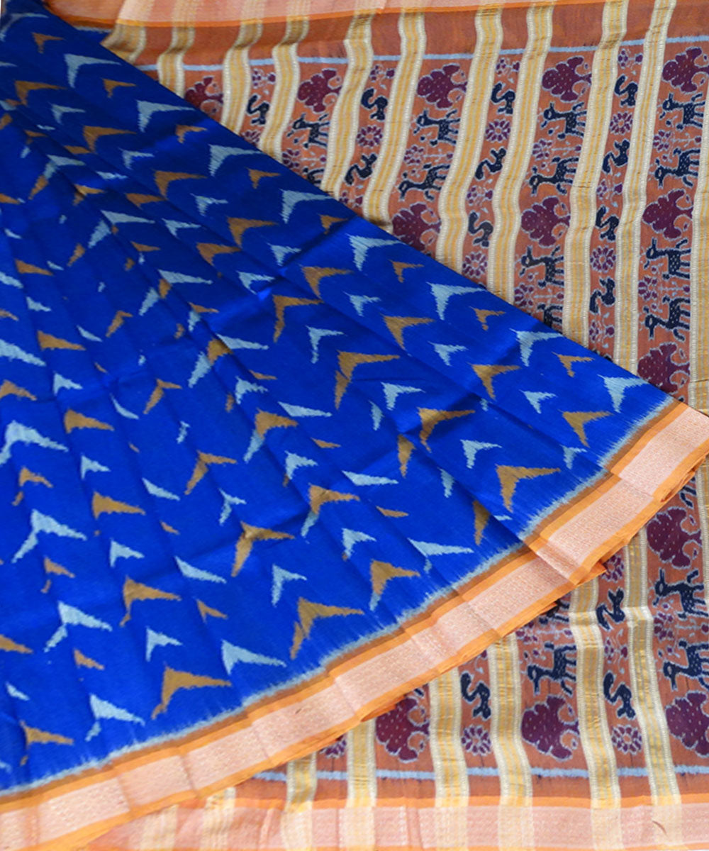 Air Force Blue ikat silk saree