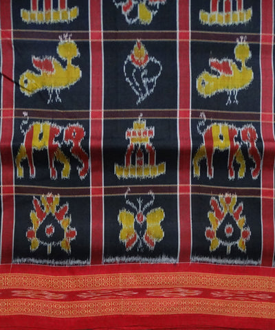 Black nabakothi ikat silk saree
