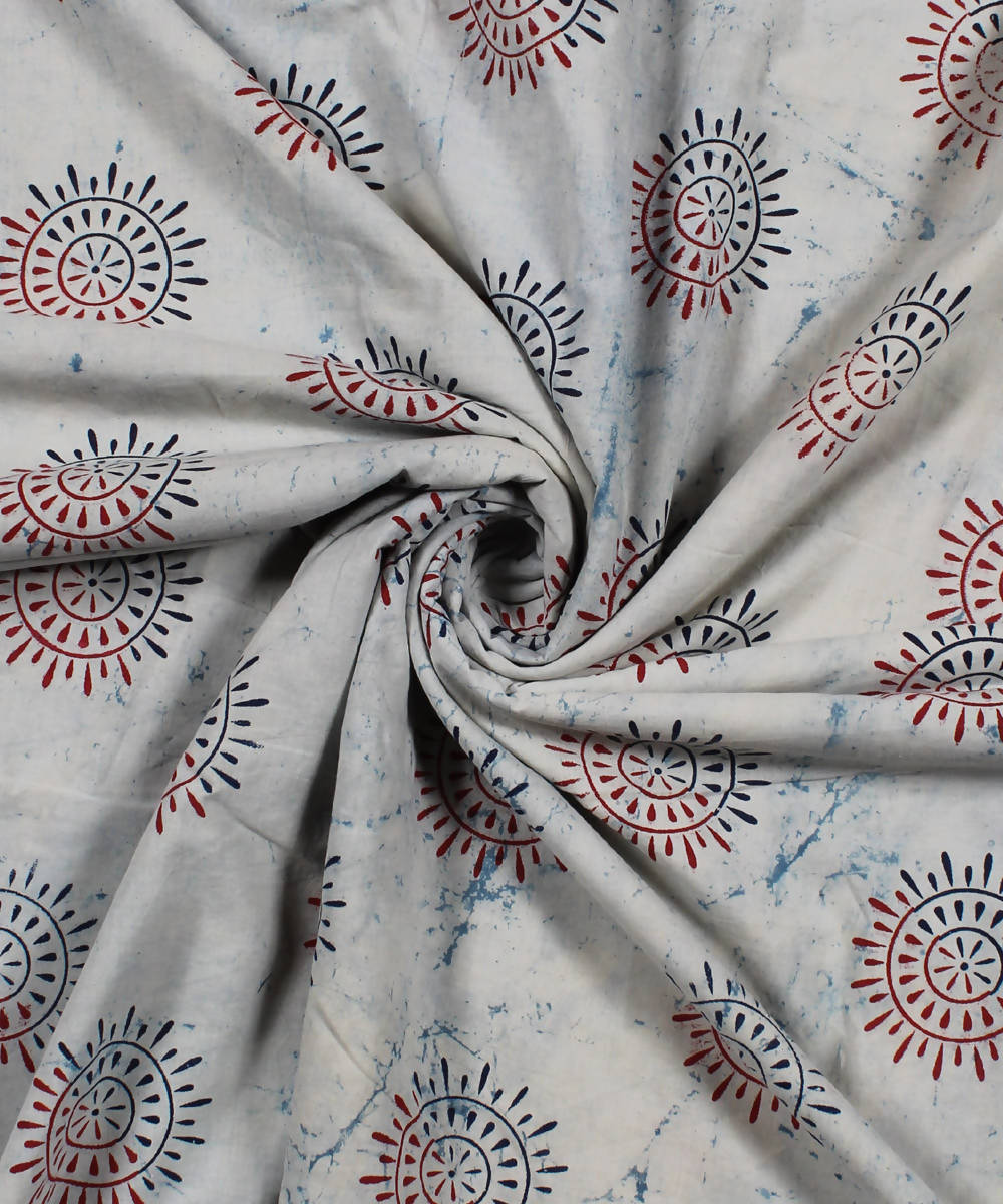 White Dabu Handblock Print Cotton Fabric