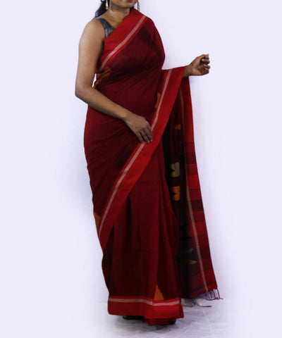 Maroon with red border handwoven bengal cotton saree