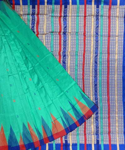 Caribbean Green Bomkai Handloom Silk Saree