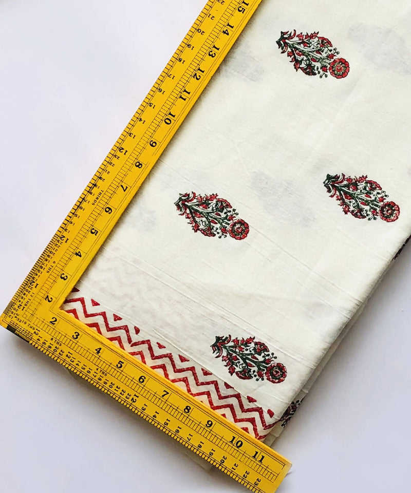 floral print on white handspun handwoven cotton fabric