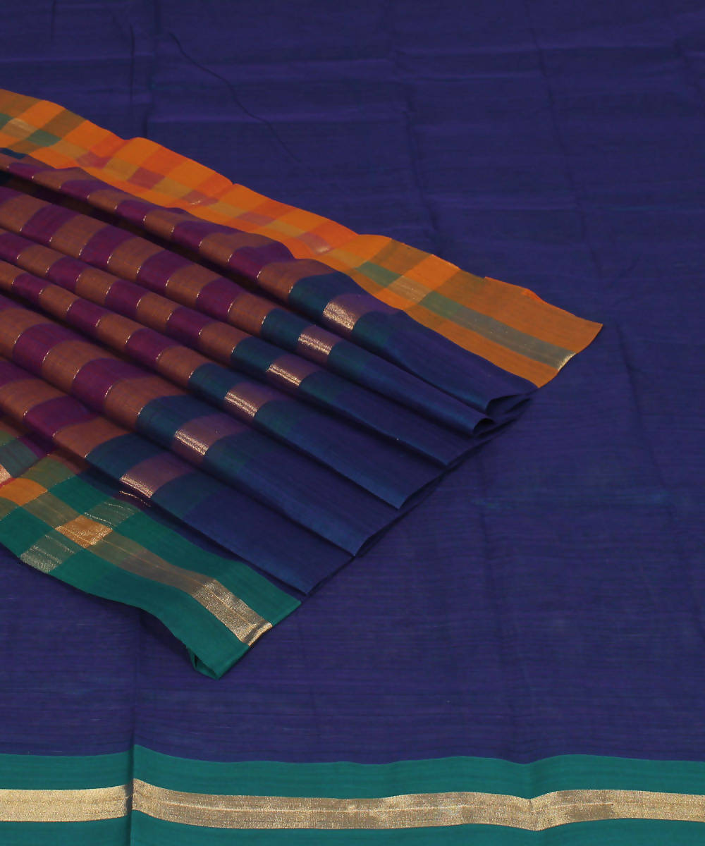 Navy blue Madhavaram Handloom Cotton Saree