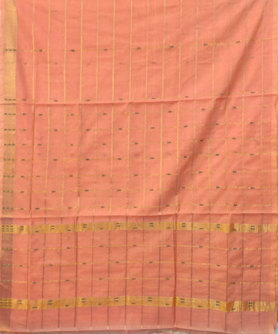 Coral pink Handwoven Cotton checks Butta Work saree