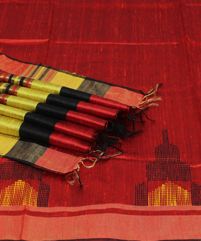 Red and Black Handloom Tussar Silk Saree