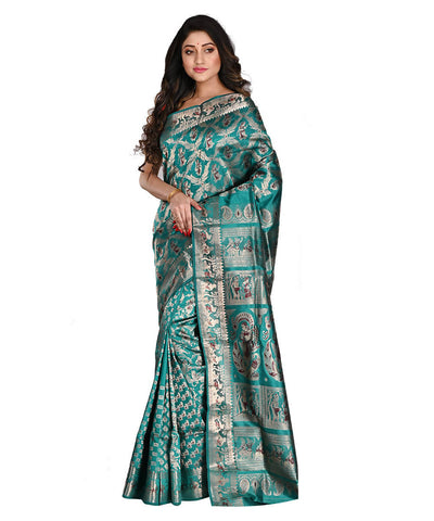Teal Baluchari Silk Bengal Handloom Saree