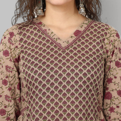 Beige and red handblock print cotton kurti