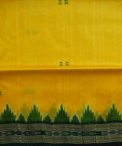 Nuapatna handloom ikat Yellow Silk Saree
