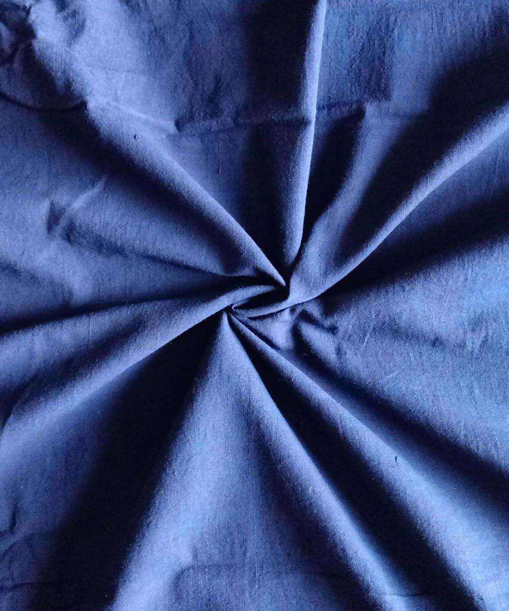 blue organic handspun cotton fabric (10m per quantity)