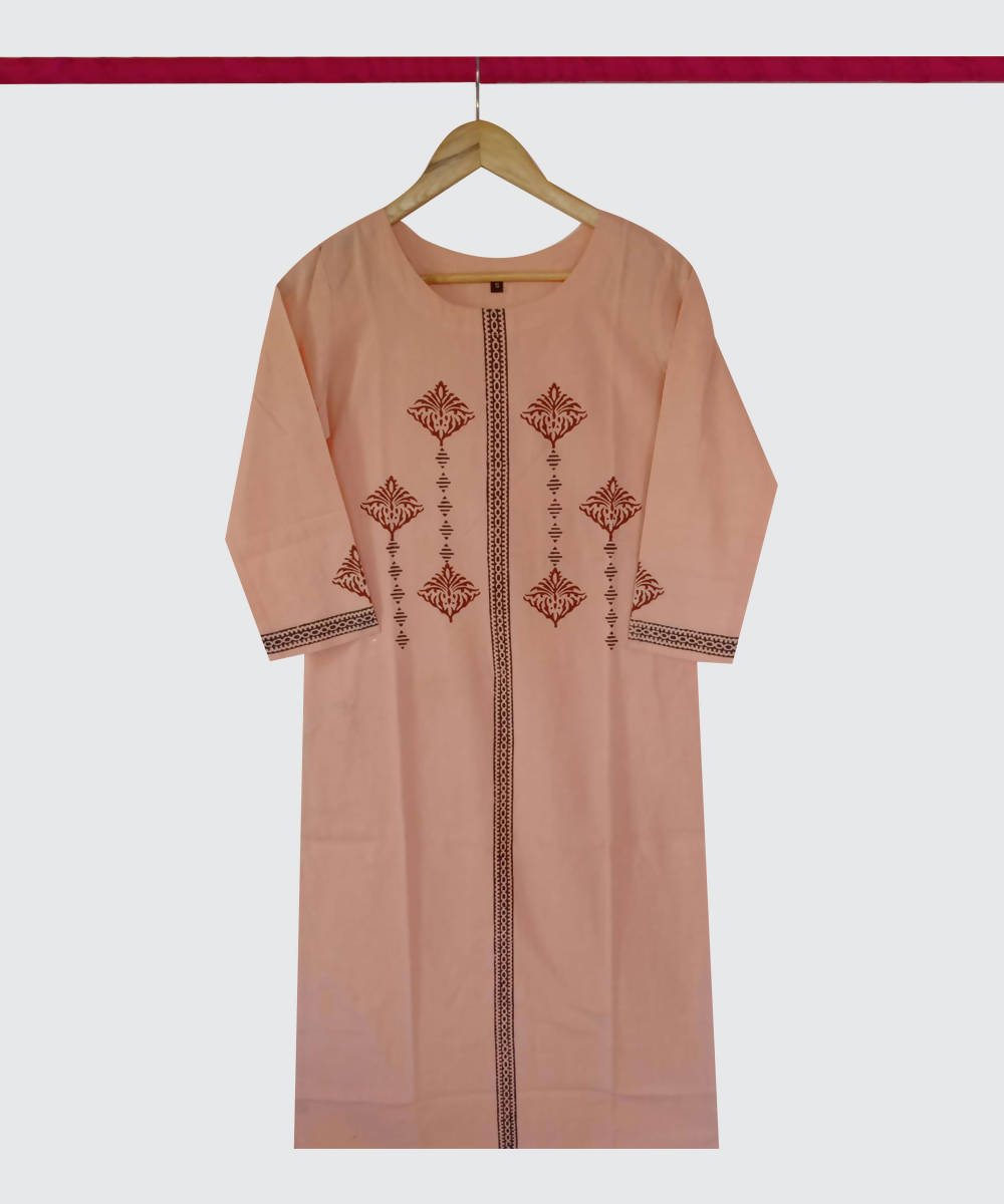 Orange Print Handspun Handwoven Cotton Kurti