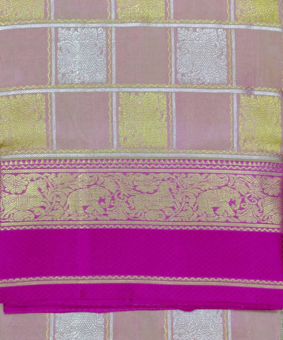 Light Pink Butta Work Checks Handwoven Silk Venkatagiri Saree