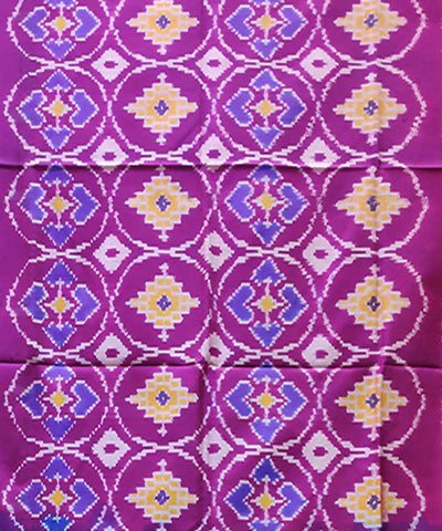 Purple and blue handwoven pochampally ikkat silk lehanga material