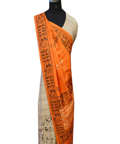 Carrot Orange Handloom Tussar Dupatta