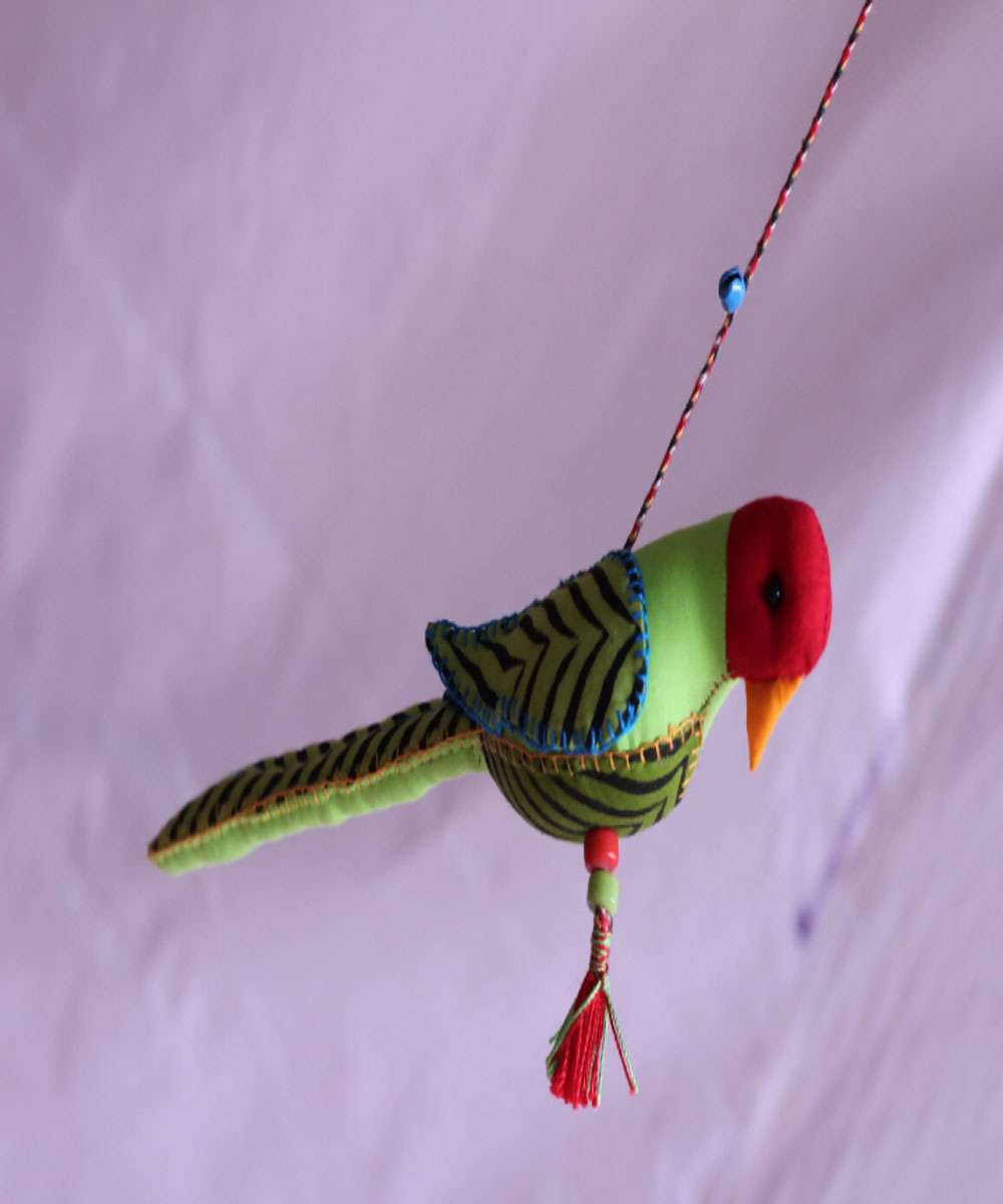 Plum headed parrot handmade cotton embroidery wall hanging