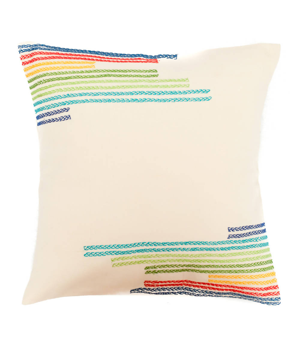 Hand Embroidered White Cotton Cushion Cover