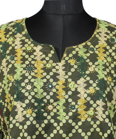 Green Lambani Hand Embroidery Cotton Kurta