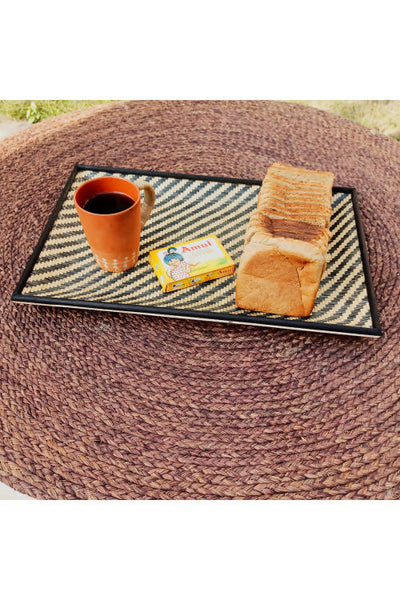 Black Handmade Bamboo Cereal Tray (Large)