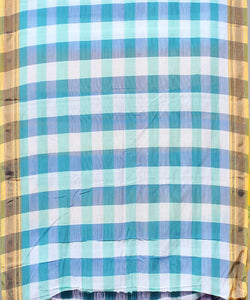 Cyan and white checks handwoven chikki paras border ilkal saree