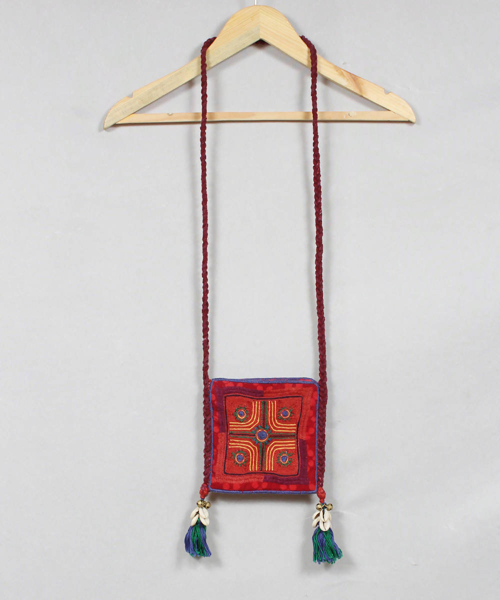 Maroon Red Lambani Embroidery Sling Bag