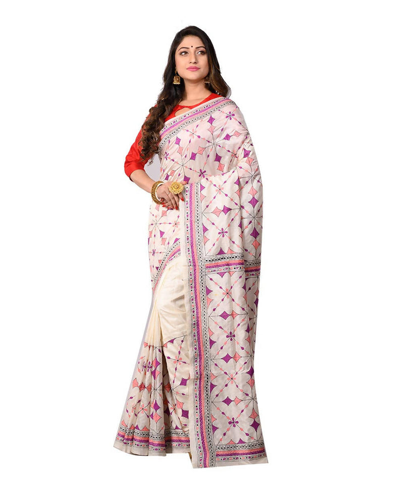 White Kantha Stitch Bengal Handloom Saree