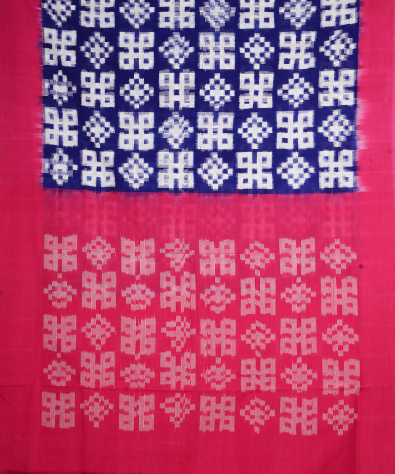 Blue Pink Handloom Telia Rumal Cotton Saree