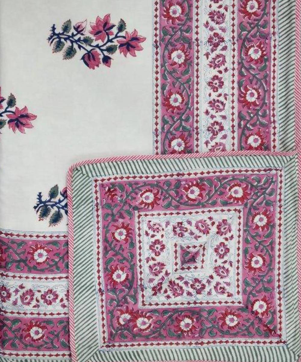 Pink and White Floral Handblock Printed Cotton Double Dohar