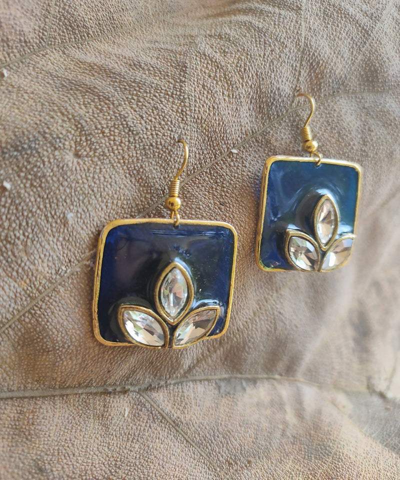 handcrafted blue square enamel floral earring drops