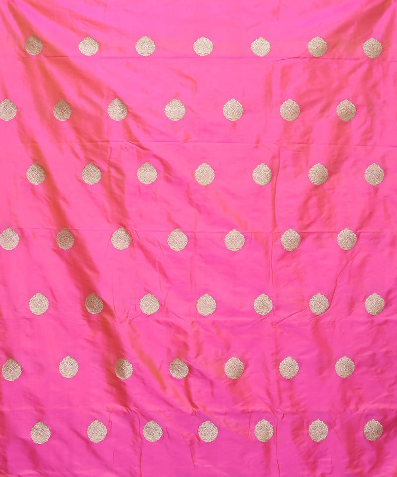 Banarasi Bright Pink Handwoven Silk Fabric