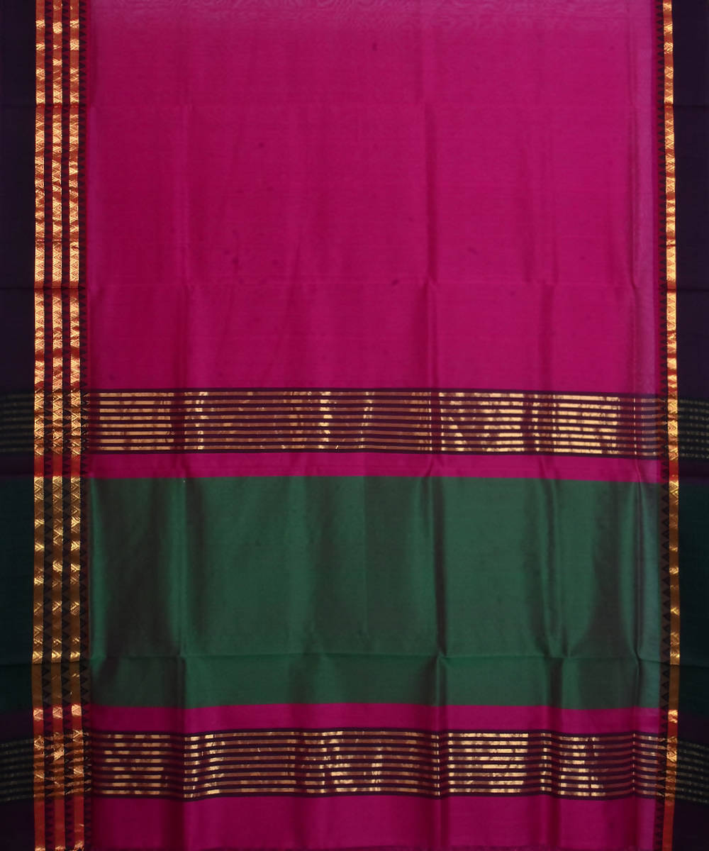 Maheshwari Handloom Pink Purple Sico Saree