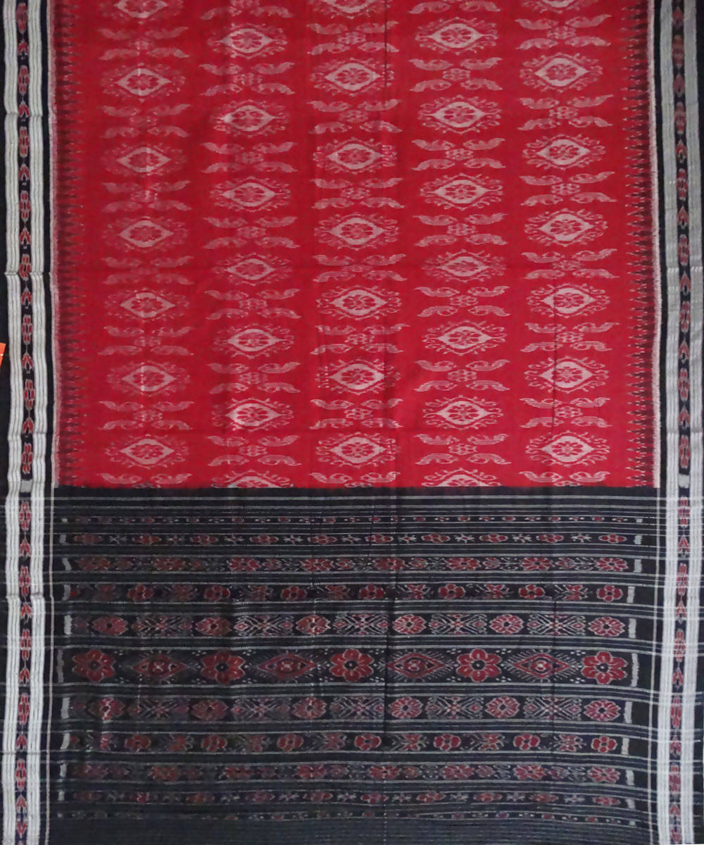 Nuapatna Red Handloom cotton Saree