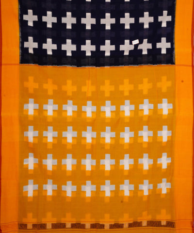 Handloom blue yellow ikkat cotton pochampally saree