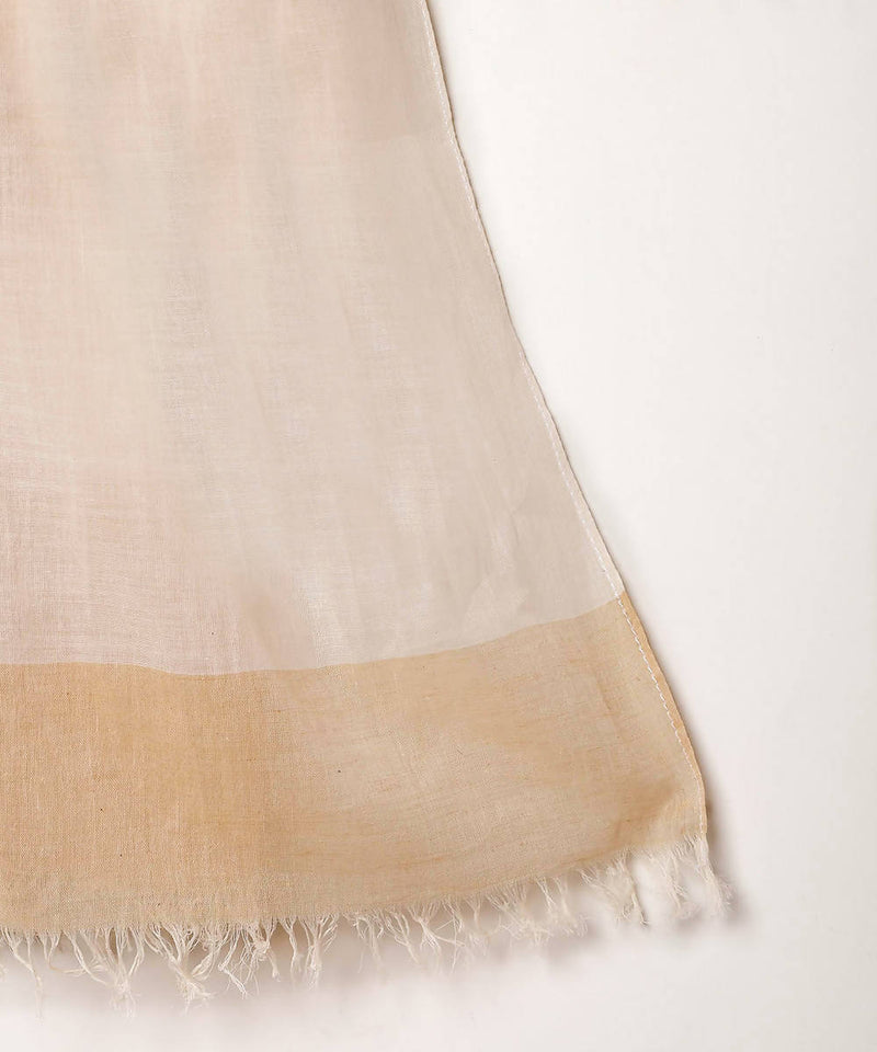 Cream white handwoven fulia cotton multicolour checks stole