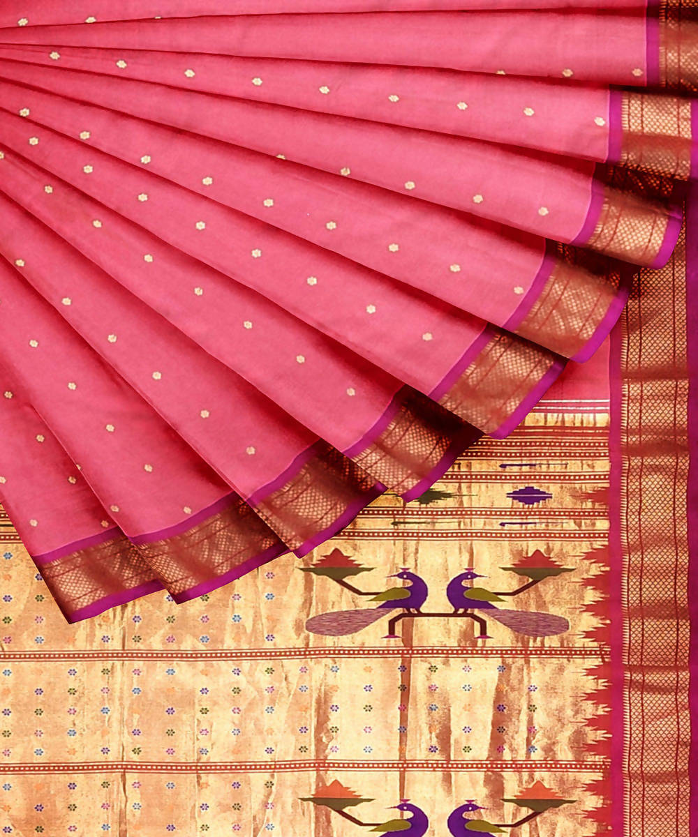 Peach Handwoven Paithani Silk Saree