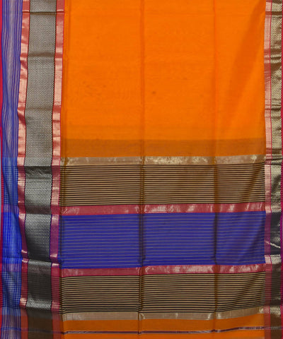 Fire Orange Handloom Maheshwari Sico Saree
