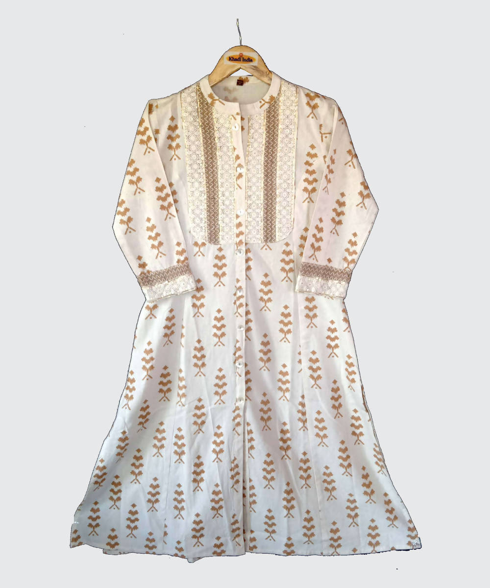 Cream Print Handspun Handwoven Kora Cotton Kurti