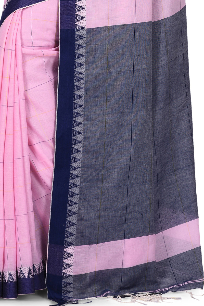 Handwoven Pastel Baby Pink Bengal Cotton Saree