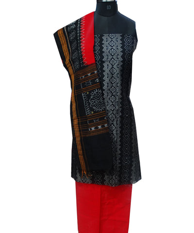 Beautiful Traditional Black And Dark Red Traditional tie And dye Cotton Dress Material