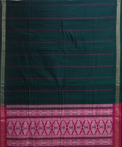 Beautiful Traditional Deep Cerise And Bottle Green Traditional Bomkai tie And dye Cotton Dress Material