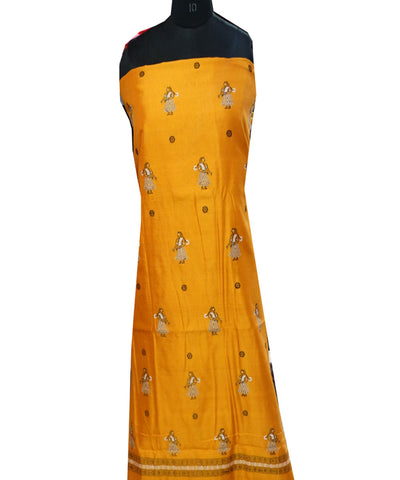 Beautiful Traditional Orange And Black Traditional Doll Bomkai tie And dye Silk And cotton Mix Dress Material