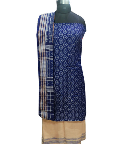 Beautiful Traditional Ink Blue And Sandal Traditional Ikat tie And dye Cotton Dress Material
