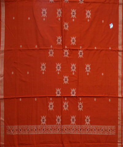 Beautiful Traditional Deep Carrot Orange And Black Jhoti Design tie And dye Cotton Bomkai Dress Material