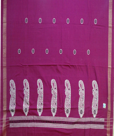 Beautiful Traditional  Dark Magenta And Black tie And dye Cotton Bomkai Dress Material