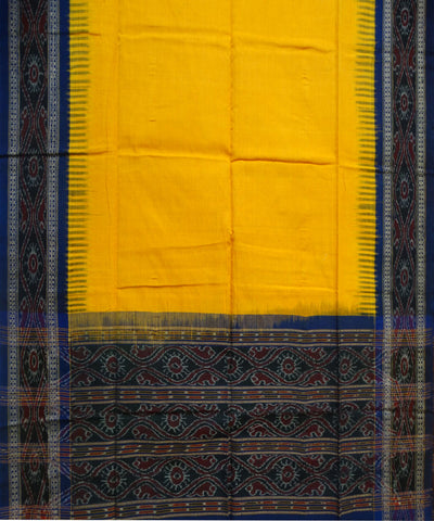 Beautiful Traditional Ink Blue And Dark Yellow Pasapali And Traditional Ikat tie And dye Cotton Dress Material