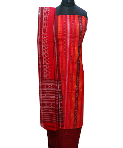 Beautiful Traditional Dark Red And Maroon Traditional Ikat tie And dye Cotton Dress Material