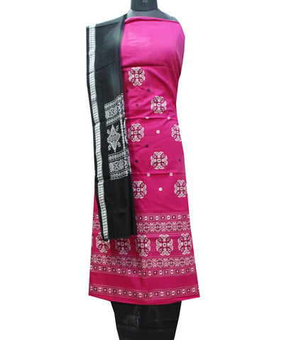 Beautiful Traditional Blue-Violet And Black tie And dye Cotton Bomkai Dress Material